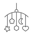 hanging toys thin line icon child and bed vector image vector image
