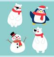 happy winter character in winter costume vector image vector image