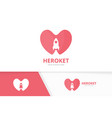 heart and rocket logo combination love and vector image