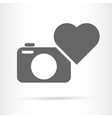 heart camera icon vector image vector image