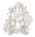 Indian girl surrounded with flowers and ornaments vector image