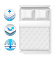 info icons about bed mattress realistic white bed vector image vector image