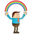 Man creating rainbow vector image vector image