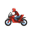 man in red helmet riding motorcycle vector image vector image