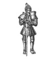 medieval knight in full battle armour vector image
