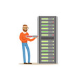 network engineer administrator working with vector image vector image