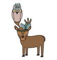 owl bird and reindeer bohemian style vector image