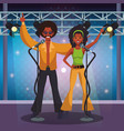 people dancing disco cartoons vector image