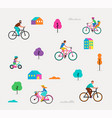 people riding on bicycles in park vector image