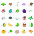 remote place icons set isometric style vector image vector image