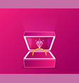 ring with diamond or jewel in box pink flat vector image
