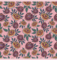 seamless medievial pattern with fantasy flowers vector image