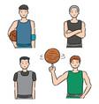 set basketball player vector image vector image