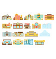 shopping mall buildings exterior design set vector image