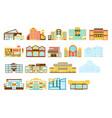 shopping mall buildings exterior design set vector image vector image