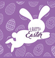 silhouette jumping rabbit happy easter egg vector image vector image