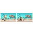 skate park cartoon landing page with teenager vector image
