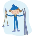 Skiing winter child - young skier in winter resort vector image