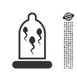 sperm in condom icon with people bonus vector image vector image