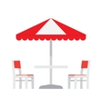 Table with chairs and umbrella vector image