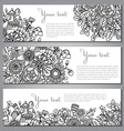 Three templates with beautiful monochrome floral vector image vector image