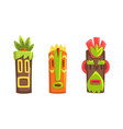tribal ethnic wooden masks with ornamental vector image vector image