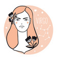 virgo girl sketch style woman with zodiac sign vector image