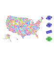 welcome collage of mosaic map of usa territories vector image vector image