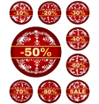 winter sale tags with 10 - 80 percent text vector image vector image