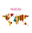 world map floral pattern with colored lines on vector image