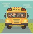 yellow school bus on road front view with a vector image vector image