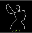 man with lightbulb idea in open head it is white vector image