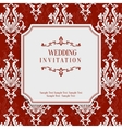 Red 3d Vintage Invitation Card with Floral vector image