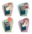 businessman businesswoman agent online mobile vector image