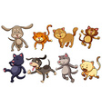 A group of playful cats and dogs vector image vector image