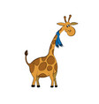 animals zoo giraffe with scarf vector image vector image