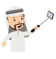 arab men making selfie on white background
