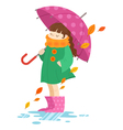 Autumn cartoon girl holding an umbrella vector image vector image