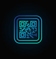 blue qr code modern linear icon on dark vector image vector image
