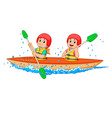 boy and girl paddling with canoe vector image vector image