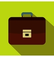 Brown business briefcase icon flat style vector image vector image