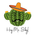 cactus print with funny vector image