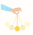 coin swing like a pendulum vector image