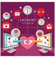 Computer Monitor and hands Love Online Concept vector image vector image