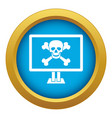 computer monitor with a skull and bones icon blue vector image vector image