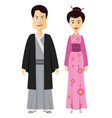 couple japanese people with costume of japan vector image vector image