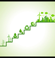 Ecology concept - eco cityscape and icons on stair vector image