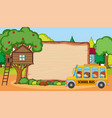 empty wooden board in park scene with many kids vector image