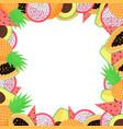 Exotic fruit frame with papaya avocado pineapple
