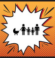 family sign comics style vector image vector image